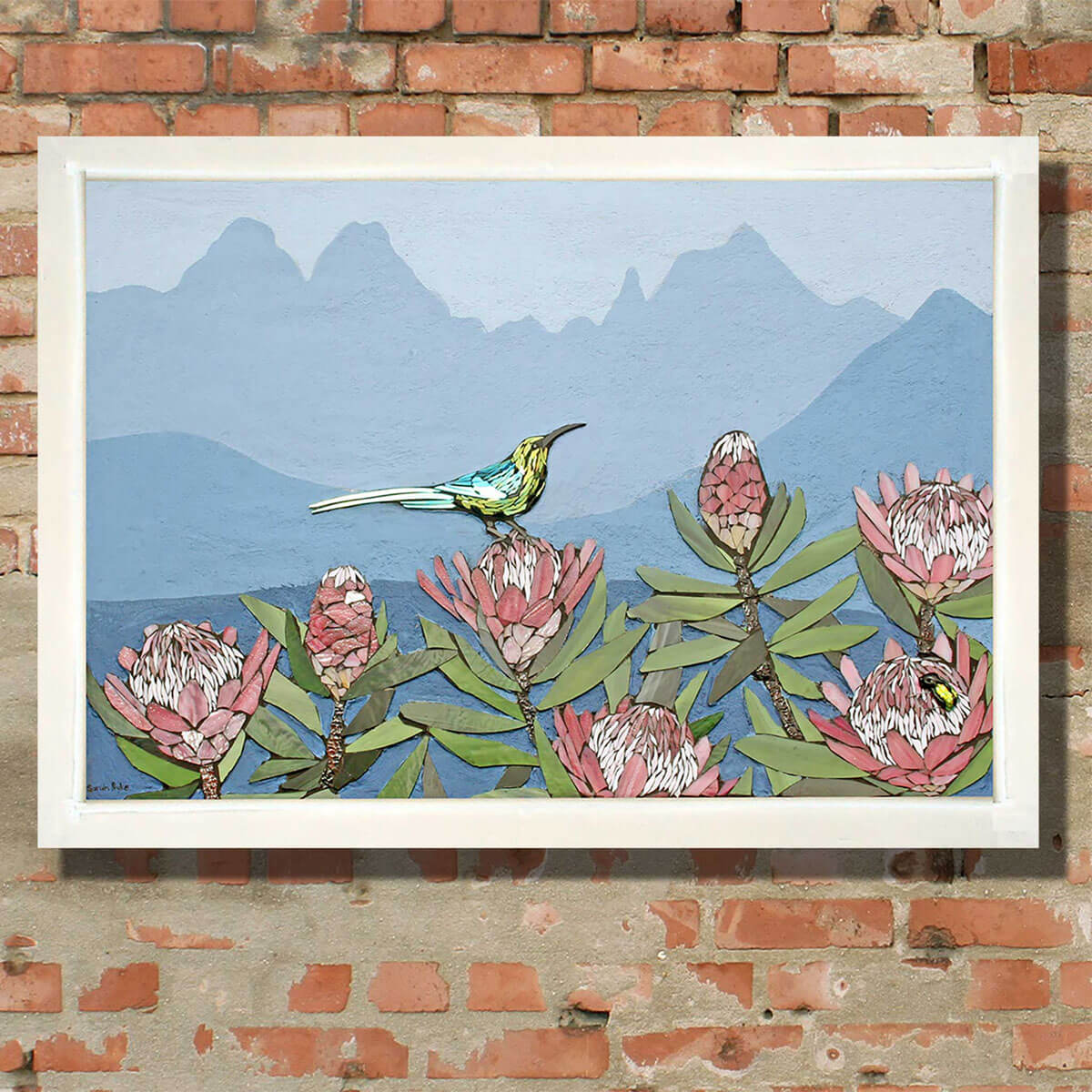 "Title: ""Breakfast View in the Berg""<br/>  Size: 60 x 90 cm<br/> Price: SOLD (South Africa)<br/>   Inspiration: A pair of Malachite Sunbirds feeding on the local endemic Protea caffra in the central Drakensberg. The background peaks of the Drakensberg include (from left to right) the Inner Horn, Outer Horn, The Bell and Cathedral Peak."