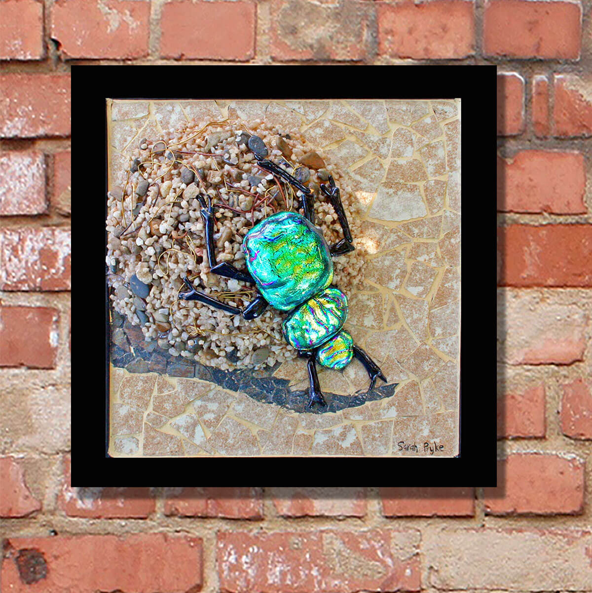 "Title: ""On the Ball""<br/>  Size: 35 x 35 cm<br/> Price: SOLD (South Africa)<br/>   Inspiration: The hardworking dung beetle moving his ball of animal dung, which is both a food store and nest. These are such amazing little critters and I loved putting together all the different elements in this one."