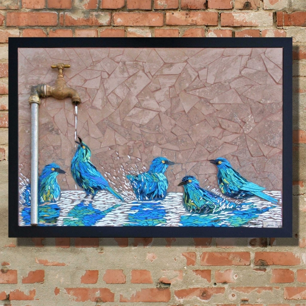 Sarah-Pryke—Starlings-at-dripping-tap
